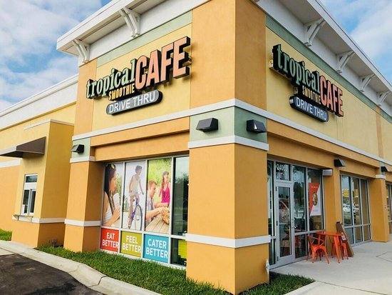 Exterior of a Tropical Smoothie Cafe location during the day, where Tropical Smoothie Cafe fundraisers take place