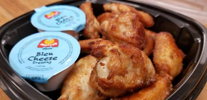 Tasty chicken wings with bleu cheese dressing, available at Marco's Pizza house fundraisers