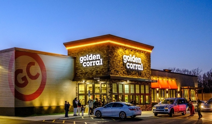 Golden Corral restaurant from outside at dusk, where people can enjoy Golden Corral fundraisers