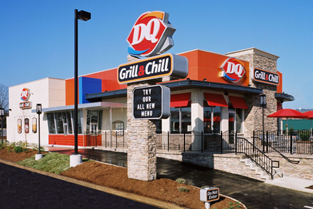 Exterior of a Dairy Queen location during the day, where you can hold Dairy Queen fundraisers
