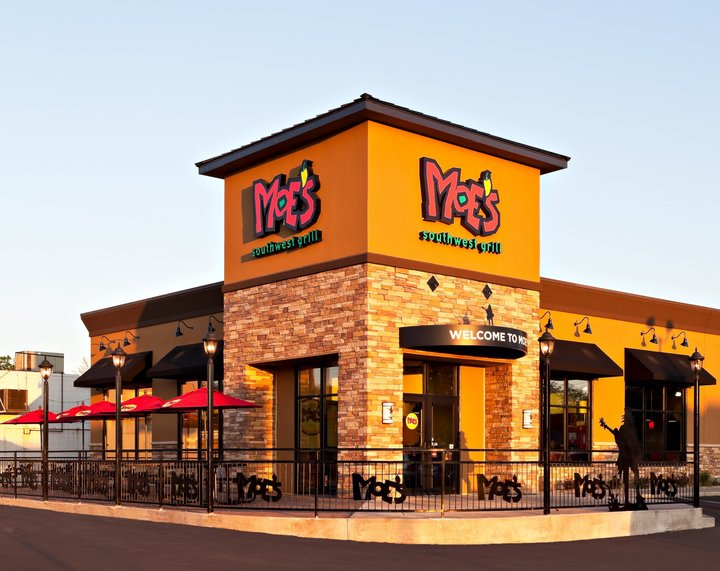 Exterior of a Moe's Southwest Grill restaurant, where people can enjoy Moe's Southwest Grill fundraisers