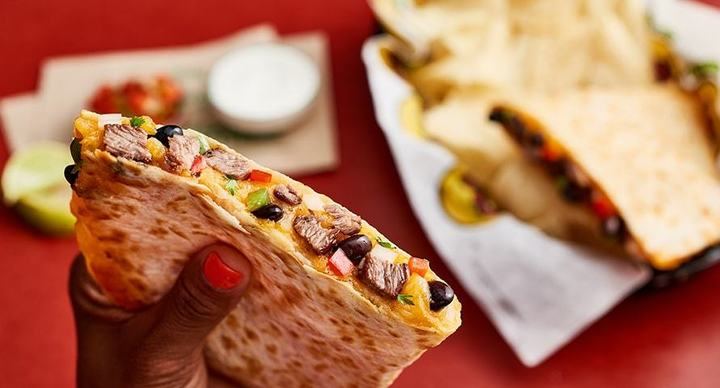 A must-try quesadilla, available at Moe's Southwest Grill fundraisers