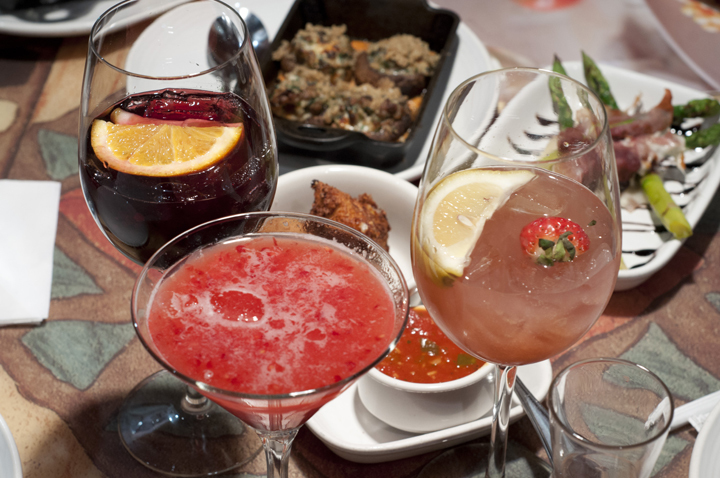 3 drinks and some appetizers, seen at Carrabba's fundraisers