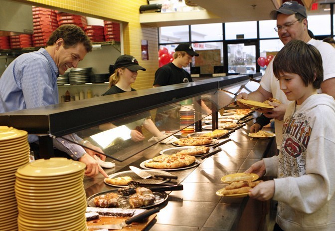 Interior of a Cicis Pizza location at daytime, where you can enjoy Cicis Pizza fundraisers