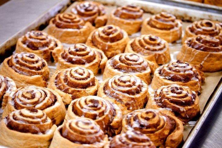 An appetizing and inviting box of cinnamon rolls, found at Cicis Pizza fundraisers