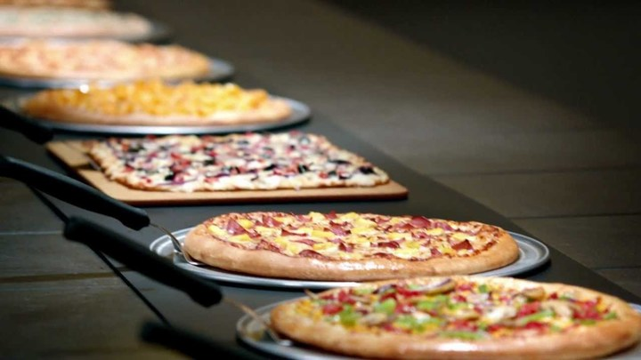 Different flavors of oven baked pizzas, available at Cicis Pizza fundraisers