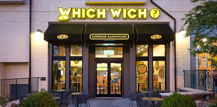 View of a Which Wich location in the evening, where Which Wich fundraisers are sure to happen
