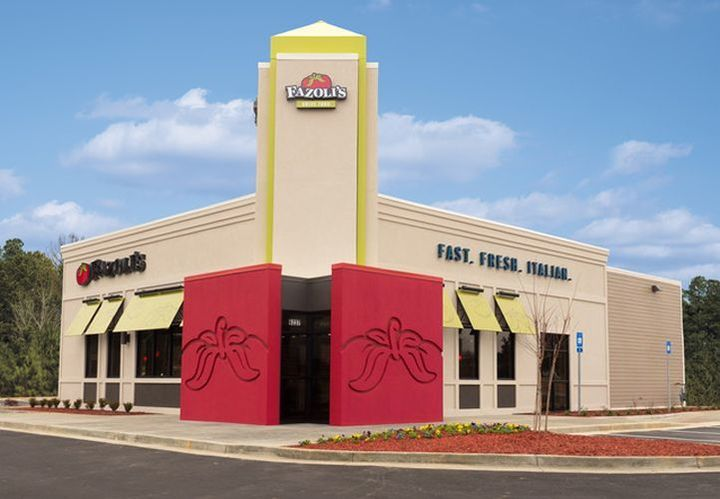 Exterior of a Fazoli's location during the day, where Fazoli's fundraisers happen