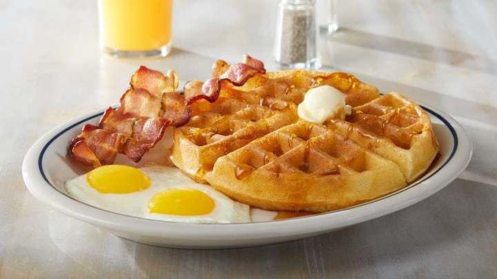 Bacon and egg waffle, as seen at IHOP fundraisers