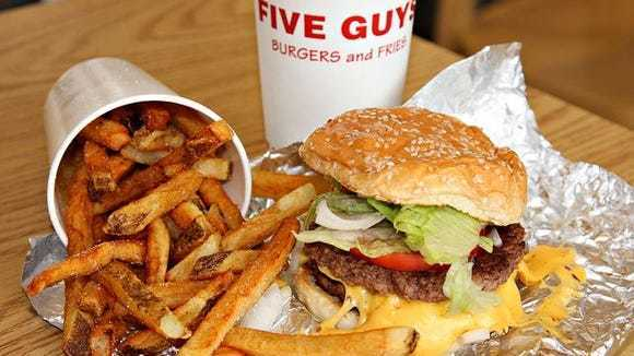 Crispy deep fried french fries, served at Five Guys fundraisers