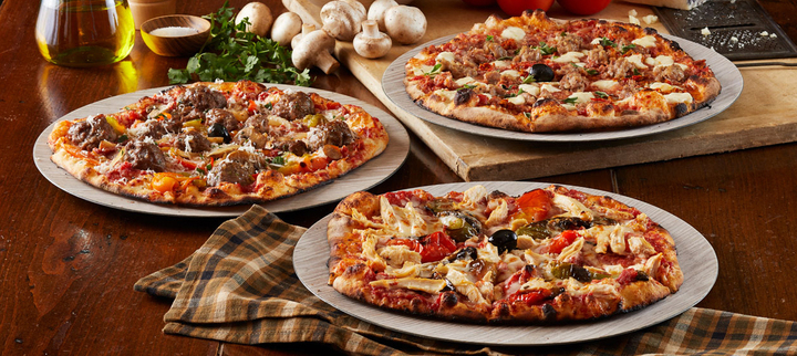 Meaty and deluxe pizzas, served at Bertucci's fundraisers