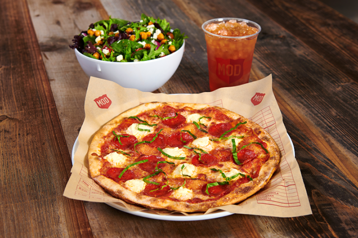 Straight from the oven pizza, served at MOD Pizza fundraisers
