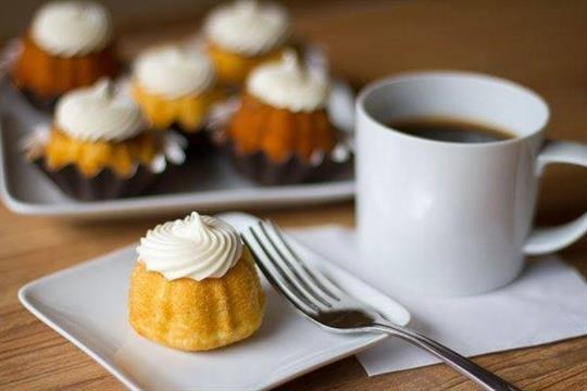 Tempting coffee with a bundtini, found at Nothing Bundt Cake fundraisers