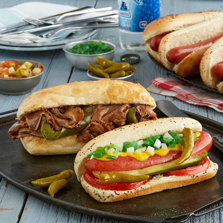 Savory beef hotdogs, available at Portillo's fundraisers