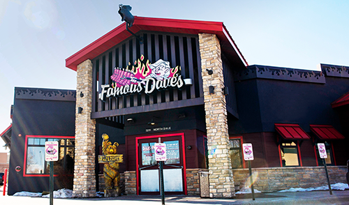 Exterior of a Famous Dave's restaurant, where people can enjoy Famous Dave's fundraisers
