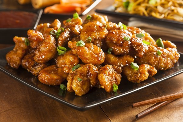 Delicious orange chicken, seen at Panda Express fundraisers