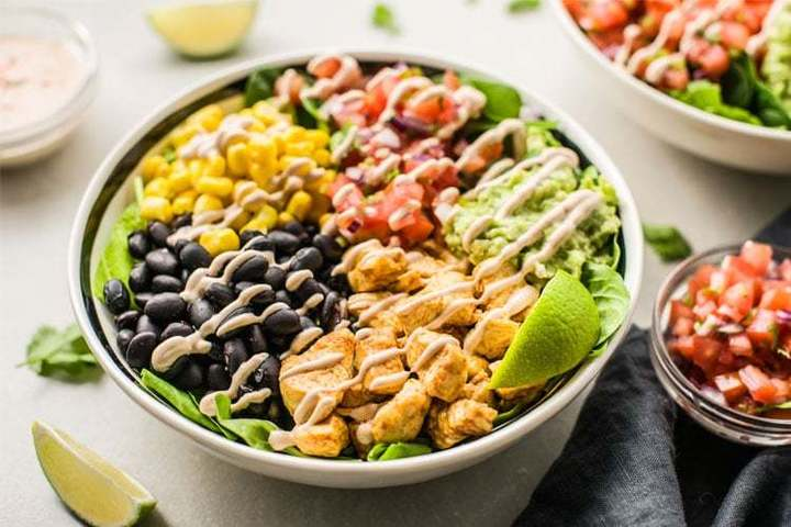 Burrito bowl with tons of fresh ingredients, available at Chipotle fundraisers
