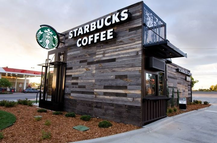 View of a Starbucks location from outside, where you can hold Starbucks fundraisers