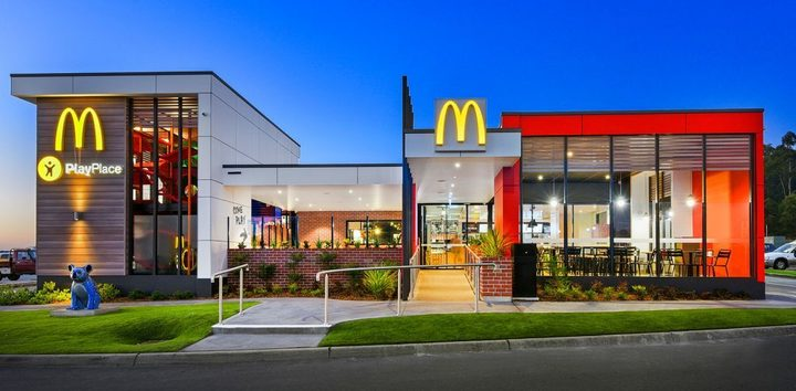 Exterior view of a McDonald's location at night, where McDonald's fundraisers take place
