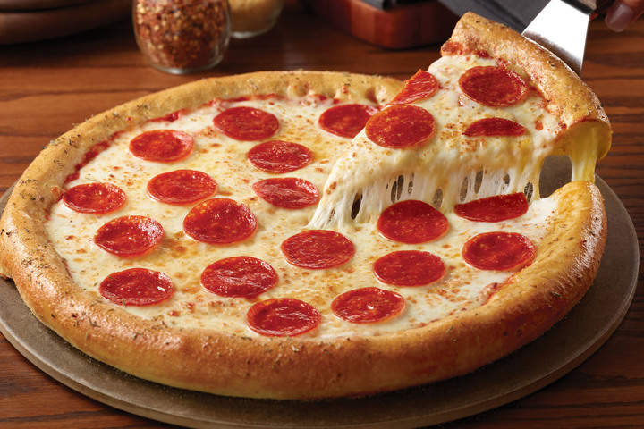 Round pepperoni pizza, available at Chuck E. Cheese's fundraisers