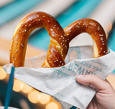 Crunchy and moist pretzel, seen at Auntie Anne's fundraisers