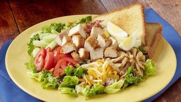 Garden fresh salad with a toast, available at Zaxby's fundraisers