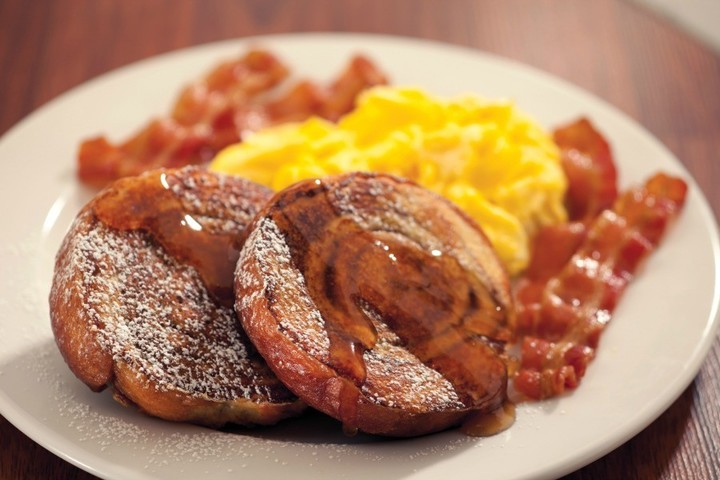 Honey glazed french toast with egg and bacon, as seen at Mimi's Cafe fundraisers