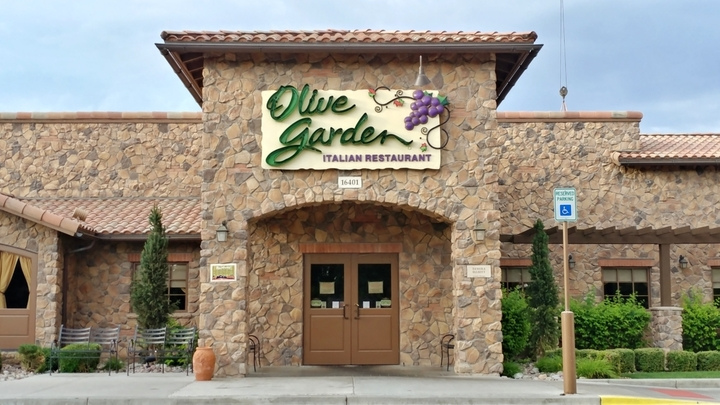 Olive Garden location from outside at daytime, where Olive Garden fundraisers are sure to happen