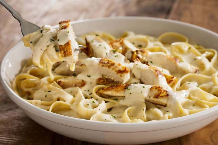 Deliciously creamy chicken alfredo, as seen at Olive Garden fundraisers